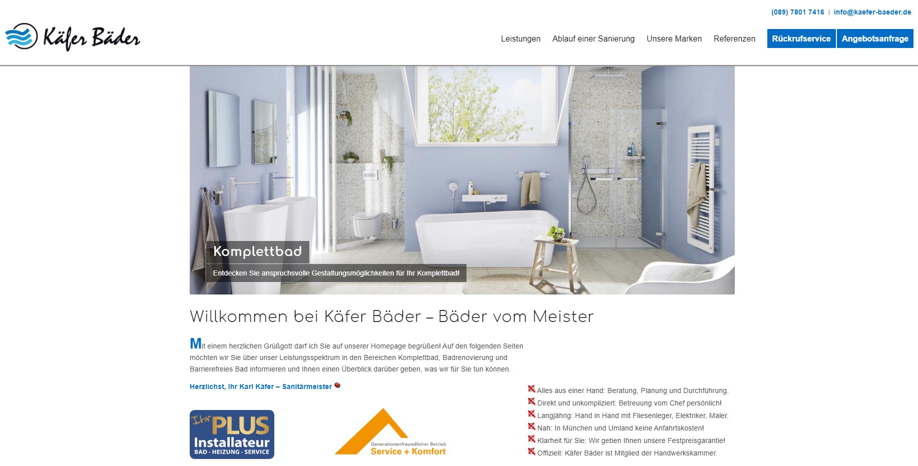 Webseite Käfer Bäder Sanitär-Meisterbetrieb